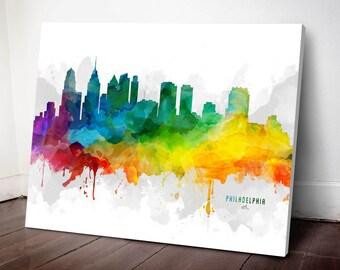 Philadelphia Skyline Canvas, Philadelphia Print, Philadelphia Art, Philadelphia Gift, Philadelphia Cityscape, MMR-USPAPH05C