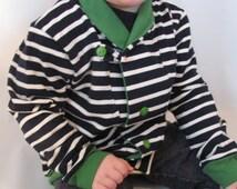 Navy Grandpa Cardigan- Boy's Size 3-4 Cardigan Handmade Navy/White/Green w/ Orange Accent Stitching, Pattern by Brindille & Twig