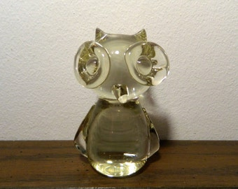 Vintage Clear Glass Owl Paperweight Figurine