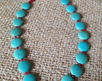 Round Turquoise Statement Necklace