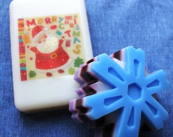 Set Christmas gift soaps Santa Claus Snowflake 3D Big size Christmas gift soaps Santa Snowflake Soap  Christmas gifts Original 3D soap