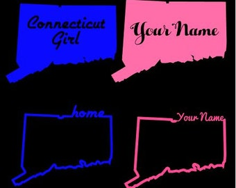 Connecticut Decal Home State Decal Connecticut Girl Custom Decal Sticker