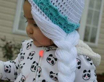 Crochet Elsa (Frozen) hat, photo prop