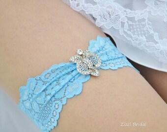 Lace Wedding Garter,Sky Blue Garte, Bridal Garter Set, Elegant Garter, Aqua Garter, Something Blue Wedding Garter, Aqua lace Garter