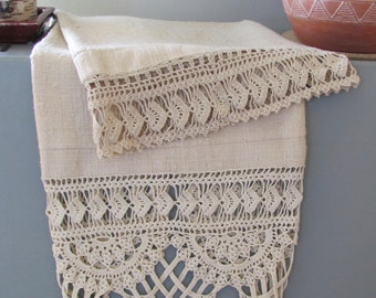 Raw Silk with Vintage Hand Crocheted Cotton Lace Pillows