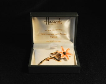 Vintage Harrods 22ct gold plated, hand made & hand painted fine bone china floral brooch