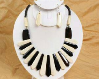 Bone Necklace and Earring set