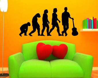 Evolution Of Man Guitarist Wall Decal - LARGE Mural Guitar Player Sticker