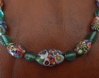 Necklace glass beads multicolor Italian style
