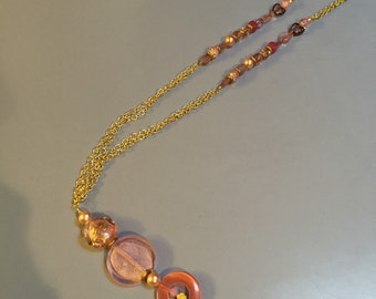 Pink glass glass bead necklace
