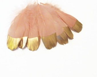 Gold Dipped Feathers, Peach and Gold Feathers, Peach Feathers, Feather Wedding Garland,  Decorative Feathers, Party Supplies
