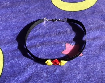 Black Velvet Choker with Red and Yellow Roses