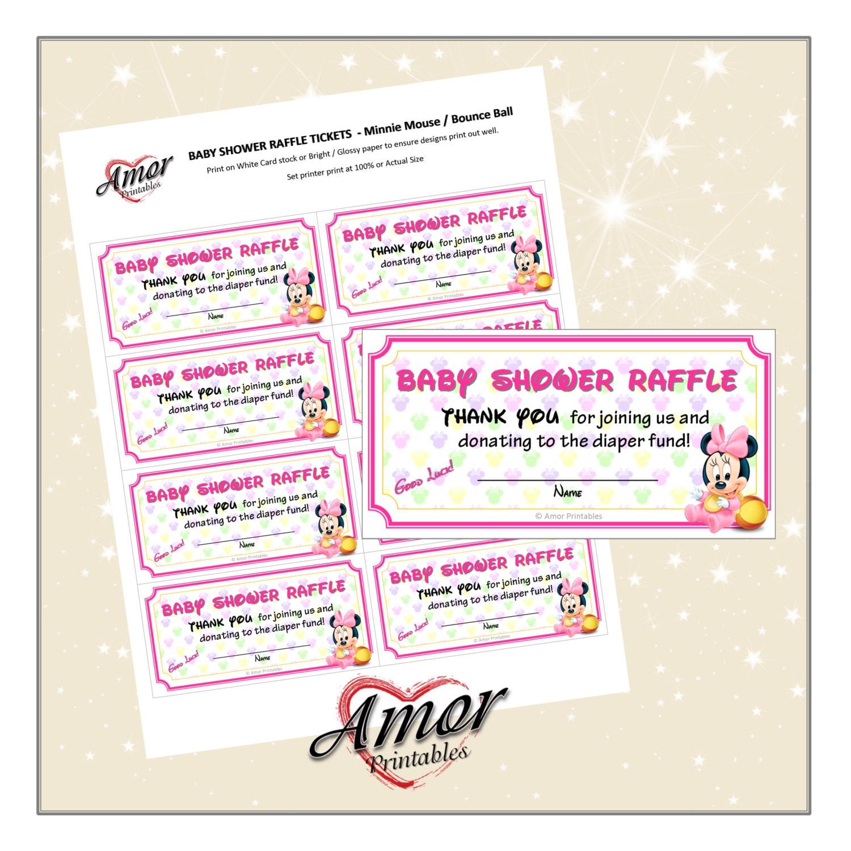 baby shower raffle card minnie mouse diaper raffle