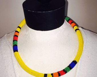 African Zulu Seed Bead Necklace