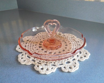 Pink Glass Candy Dish with Heart Shape Handle