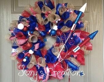 Fourth of july wreath, front door wreath, deco mesh wreath, summer wreath,