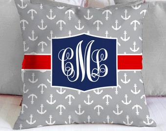 Personalized Monogram Custom Throw Pillow, Blue anchor patterns with blue stripe and mint monogram, Decorative Pillow 18