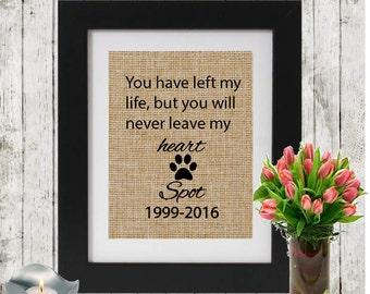 Custom Pet Remembrance Gifts - Personalized Pet Memorial - Name and Date - Memorial Gift - Loss of a Pet - Gift of condolence - Burlap Pri