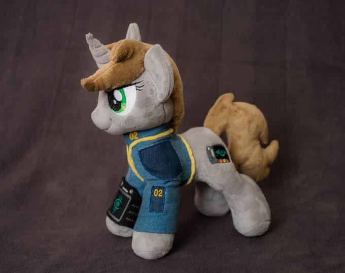 Plush Littlepip Fallout Equestria Custom Pony 12 inches with pipbuck & barding