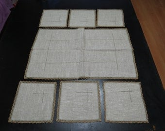 Antique, linen handmade Bulgarian embroidered tablecloth-7 peaces
