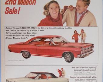 "1966 Mercury Comet Sports Coupe Magazine Ad.  2 door Comet coupe.  Full color.  10""x14"".  Vintage car ad."