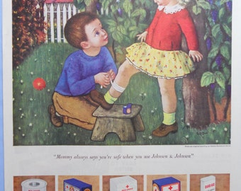 1949 Johnson and Johnson First Aid Bandages Ad. Johnson and Johnson ad. Gladys Rockmore Davis Illustration.  Children decor.