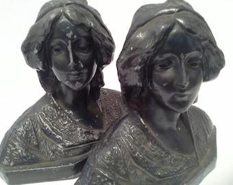Victorian looking women metal bookends