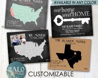 Moving Announcements - postcard, printable, chalkboard, kraft