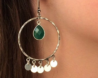 Large Exotic Gypsy Sterling Silver and Green Oynx Chandelier Earrings