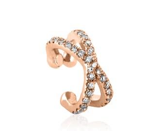 Cross ear cuff, double helix, diamond ear cuff, rose gold earrings, no pierceing helix, 14k gold ear cuff, no piercing ear cuff,  helix