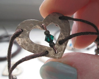 Boho Heart Bracelet Hammered Heart Metalwork