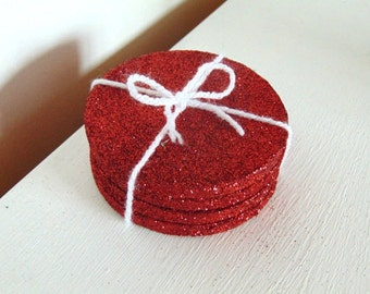 Coaster Set of 4 In Red Glitter
