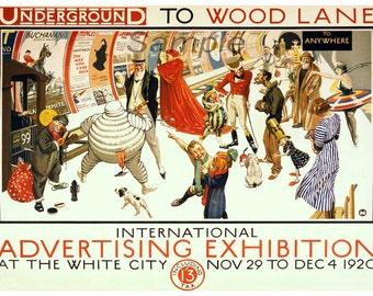 Vintage Wood Lane London Underground Poster Print