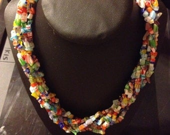 Multi-strand, colourful, glass bead necklace