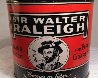 Sir Walter Raleigh Vintage Smoking Tobacco Tin with Tax Stamp