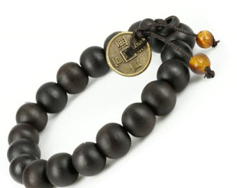 Feng Shui Coin- Tibetan Buddha Prayer Mala - Black Wood Handmade Bracelet - For Men and Women- W026
