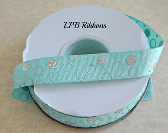 "7/8"" Aqua ribbon, aqua dots ribbon, aqua grosgrain ribbon, US Designer ribbon, Aqua foil ribbon"