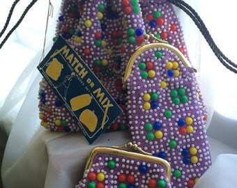 Reversible beaded pouch purse by Mademoisell