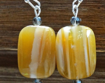 Yellow Botswana Agate Rectangle Gemstone Earrings