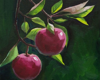 Apples on the green background.  Original oil painting on canvas  carton - wall decor- home decor