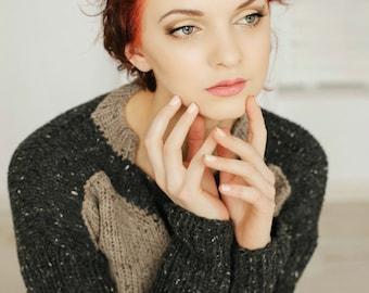 Brown Sweater | Tweed Sweater | Merino Sweater | Merino Pullover Sweater | Boho Sweater | Bohemian Pullover | Brown Wool Sweater