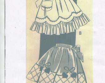 vintage 40's ladies fancy- hostess apron pattern ...multi styles ...easy make ... # 190
