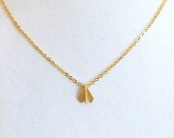 Origami plane 18K Chain with Gold Plated Necklace