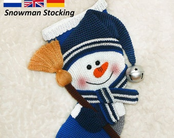Snowman Christmas Stocking  - Crochet Pattern