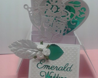 Beautiful Handmade 55th Emerald wedding Anniversary pop up greetings  Card