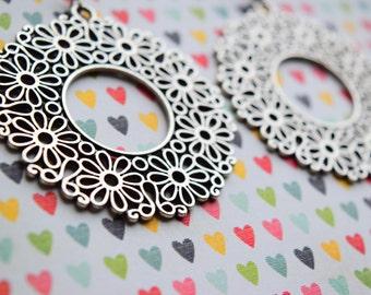 Bohemian earrings, Floral earrings, Silver earrings, -70% off ONLY ONE PAIR - Unique pair