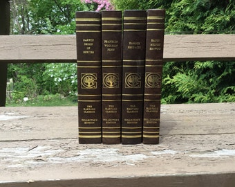 VINTAGE Bundle of Books Book Set 4 Brown Hardbacks Harvard Classics Bookshelf Filler - library readymade