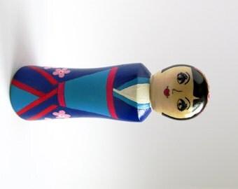 Free shipping, hand painted kokeshi doll