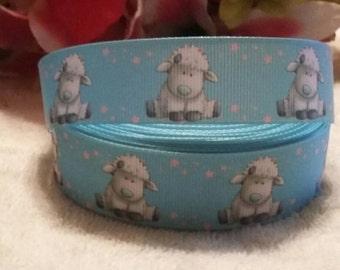 3 yards, 7/8' baby lamb design Grosgrain ribbon