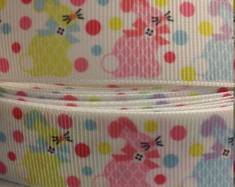 3 yards, 7/8' grosgrain ribbon colorful easter bunny design